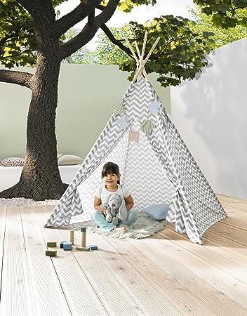 Kindertipi U0026quot;Tipiu0026quot; Grau Weiß Zelt Kinderzelt Spielzelt  Kinderzimmer Dekoration Kinderspielzelt