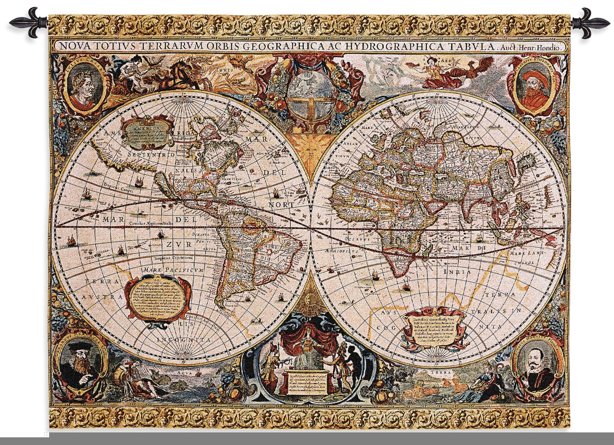 Fine Art Tapestries ''Antique Map Geographica'' Wall Tapestry, Large