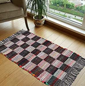 Woven St Cotton Area Rug, Luxurious Handcrafted Traditional Collection of Rugs Non-Skid Carpet   Modern Indoor Shag Rug for Bedroom, Home Décor, Dining Room, Living Room   Size- 20X32   Chindi-Checks