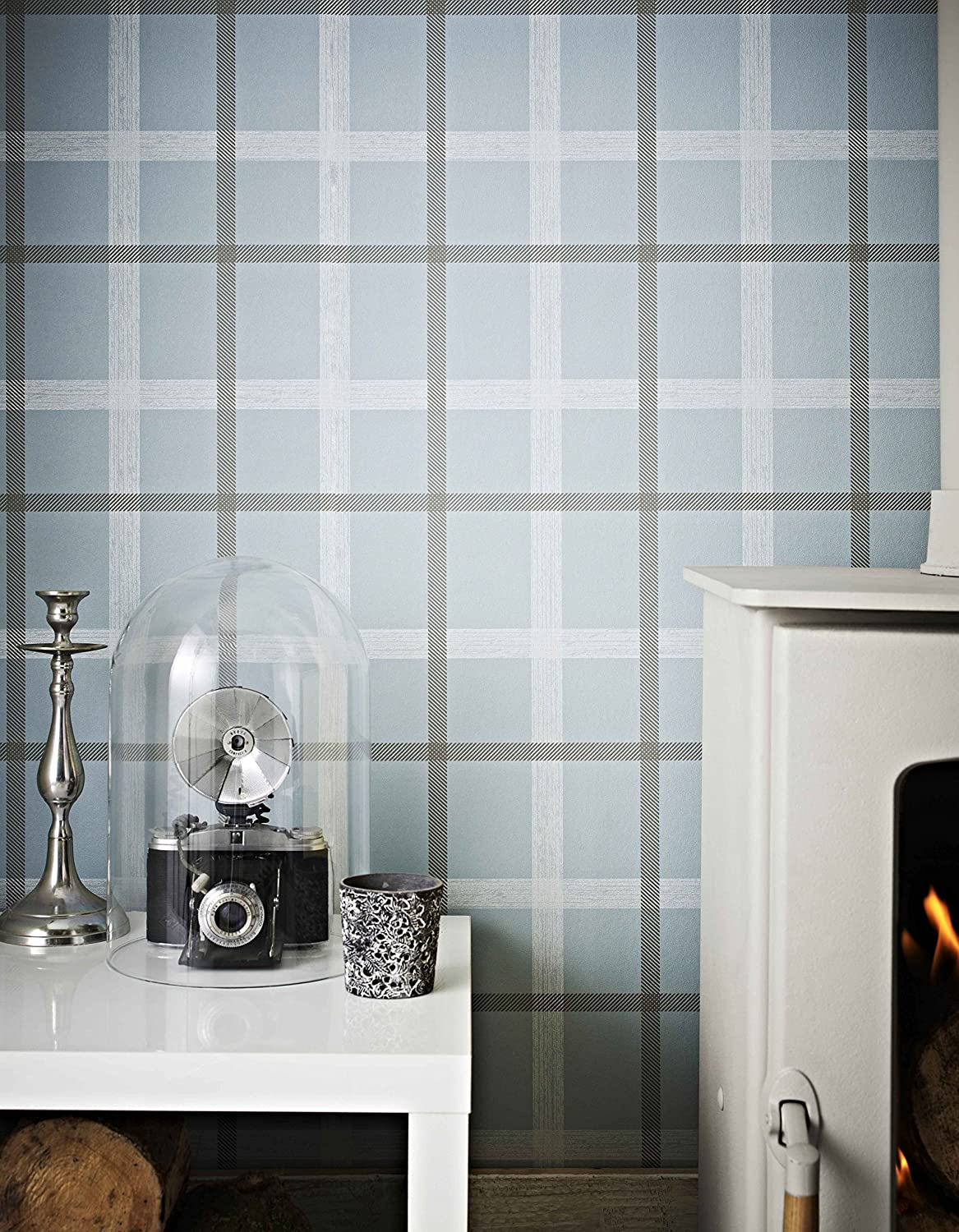 Graham Brown 20 537 1 Fabric Collection Plaid Wallpaper Skye Blue