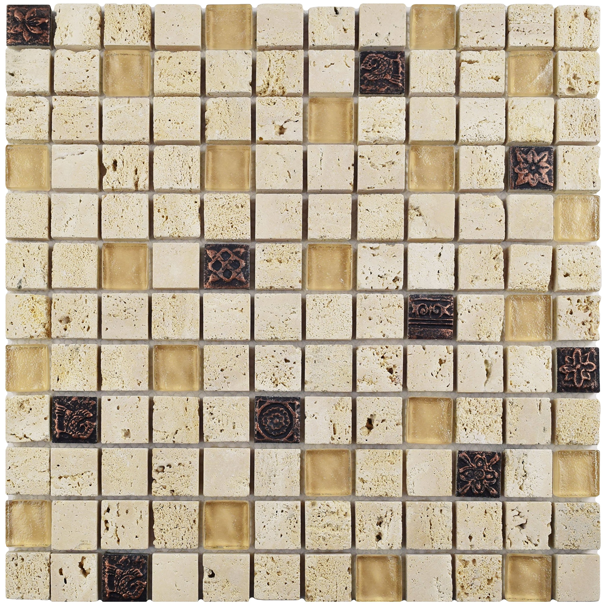 SomerTile GITCAGL Abbey Glouster Glass and Stone Mosaic Wall Tile, 12'' x 12'', Beige/Tan/Cream/Bronze/Metallic by SOMERTILE