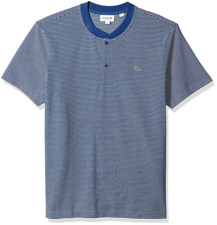 881b176e Lacoste Men's Short Sleeve Reg Fit Fine Stripe Henley at Amazon ...