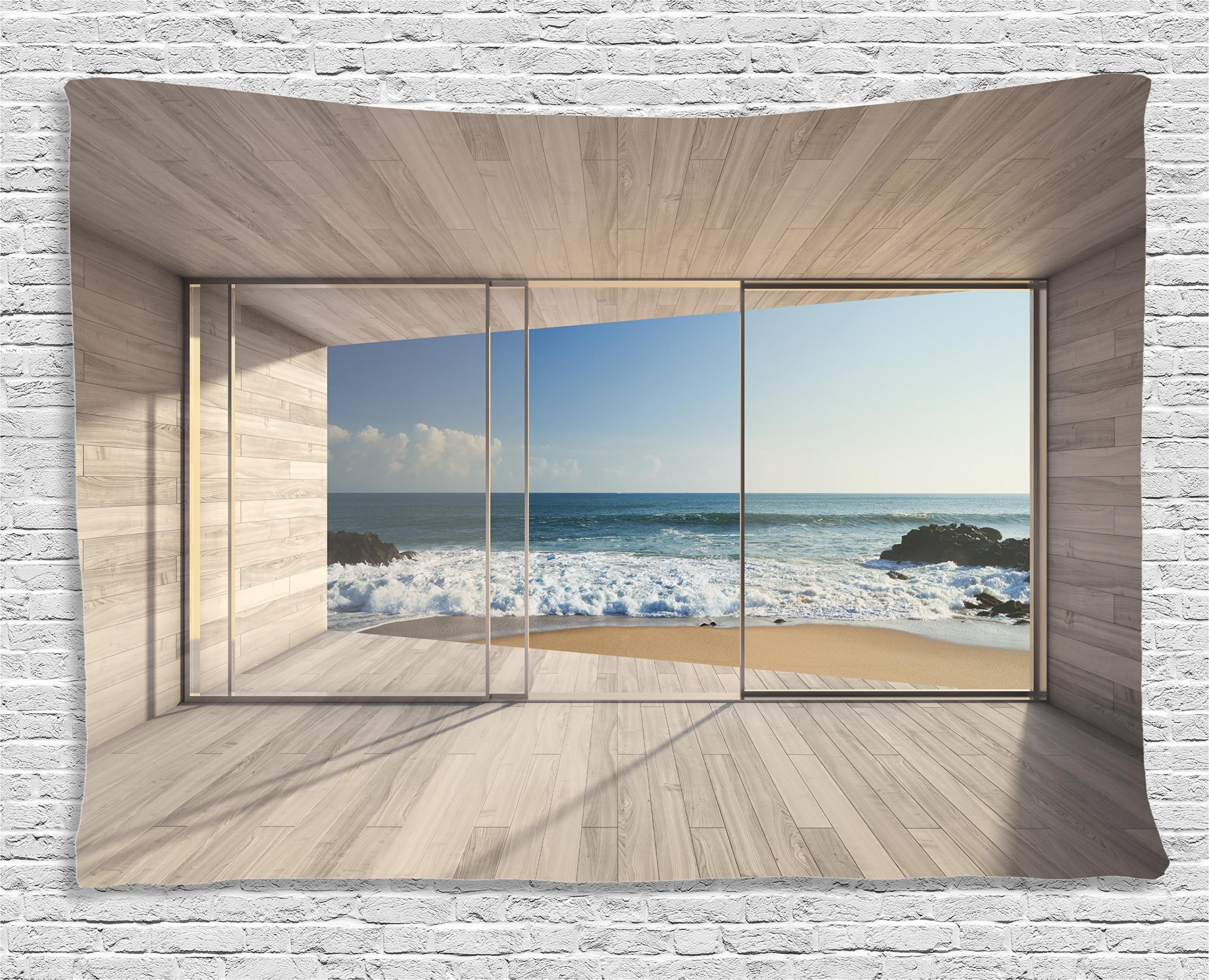 Ambesonne House Decor Tapestry, Empty Modern Lounge Area with Large Window and View of Sea Waves Rocks, Wall Hanging for Bedroom Living Room Dorm, 80 W X 60 L inch