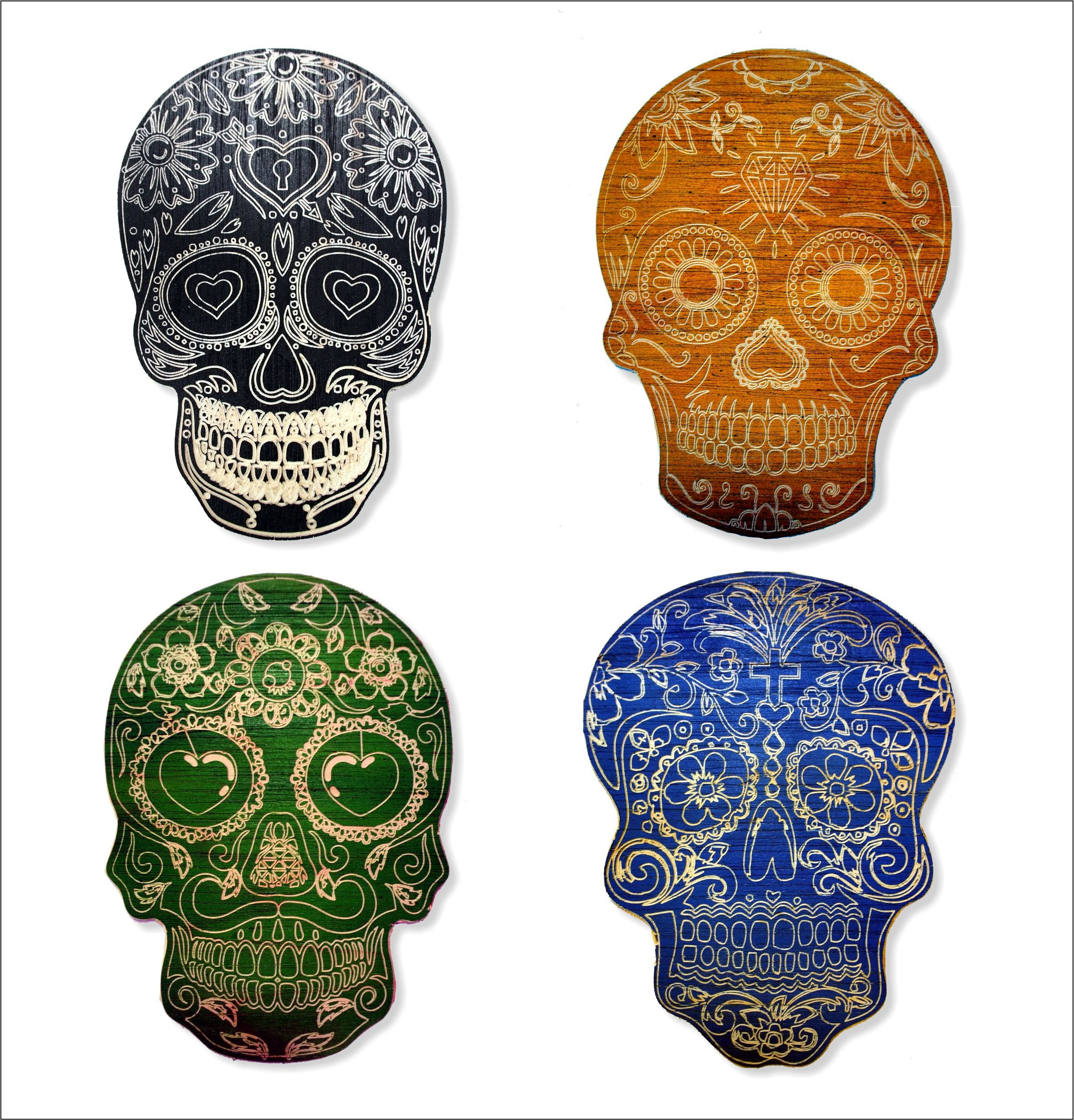Wood Wall Art Decorative Skulls | Day of the Dead Vintage Wall Decor | Hand-carved Artwork on aged wood | 4 Pieces of 12'' x 9'' | Customized with the colors of your choice | Sugar Skulls Mexican art