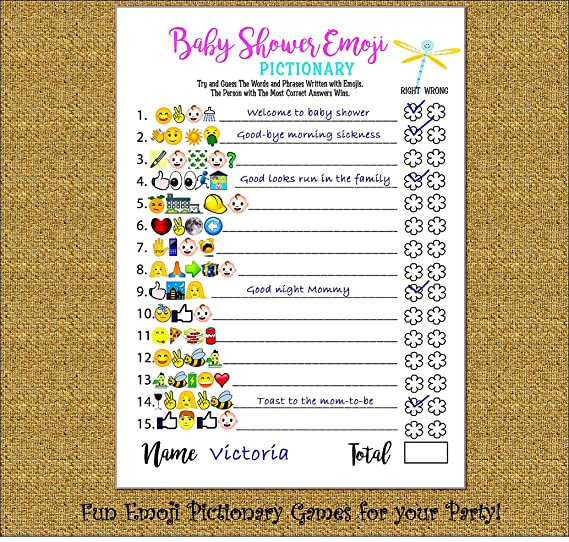 Baby Shower Games Emoji Pictionary And Advice Prediction Card 51