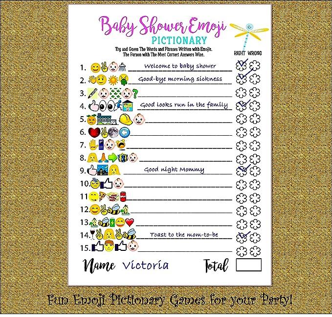 Amazon Com Baby Shower Juegos Emoji Pictionary Y Asesoramiento Prediccion Tarjeta Tarjetas De 51 Divertido Juego Para Ninos Ninas Genero Neutro Ideas Para Ganadores De La Fiesta Premios Para Juego De Ducha
