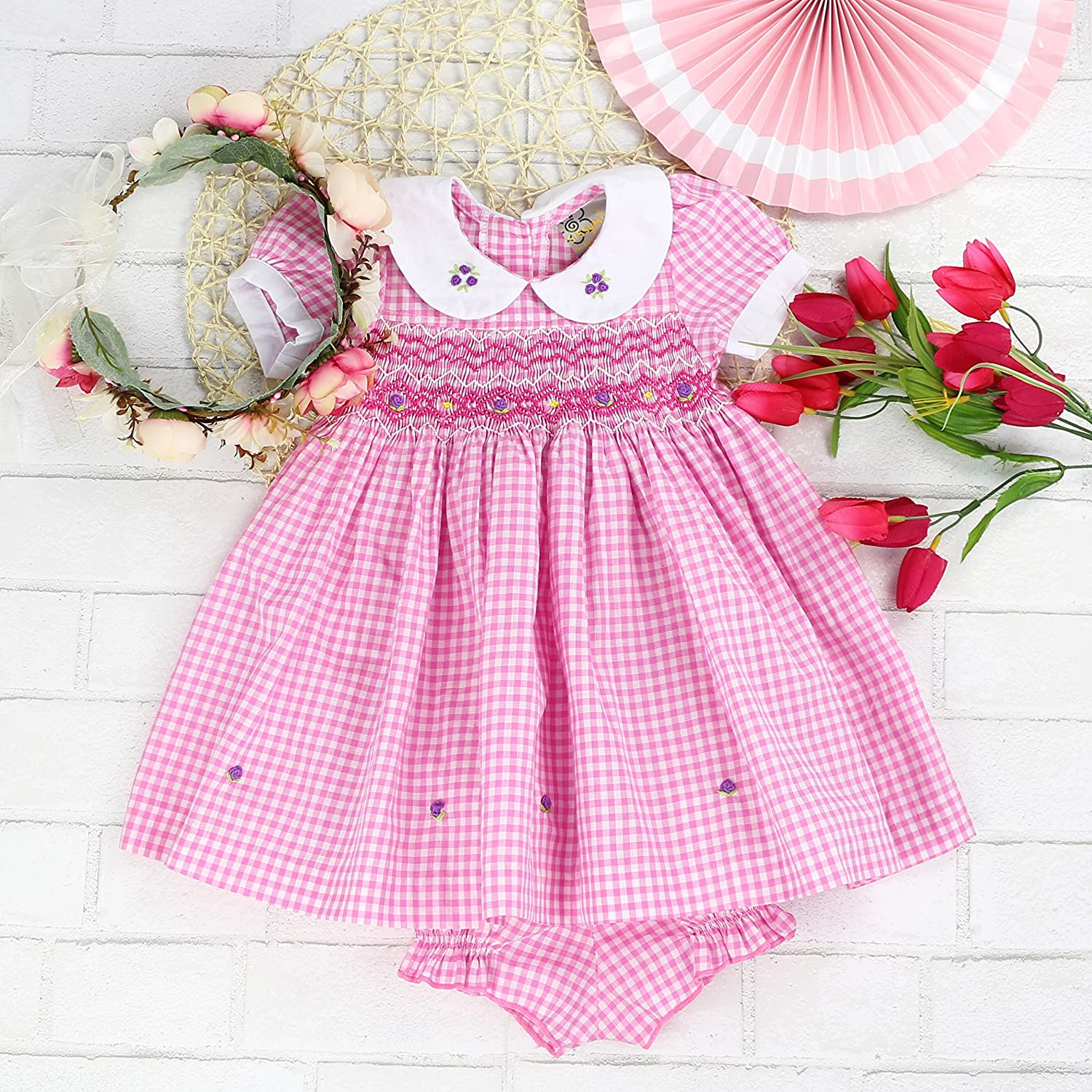 Rosaline Pagets Infant and Toddlers Soft Cotton Fabric Hand Smocked Dress Rose Petal /& Monochrome Plaid sissymini