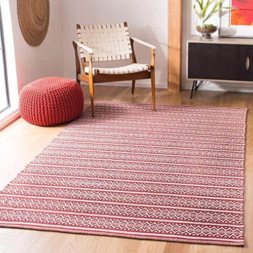 Safavieh Montauk Collection MTK341C Handmade Flatweave Ivory and Red Cotton Area Rug 3 x 5
