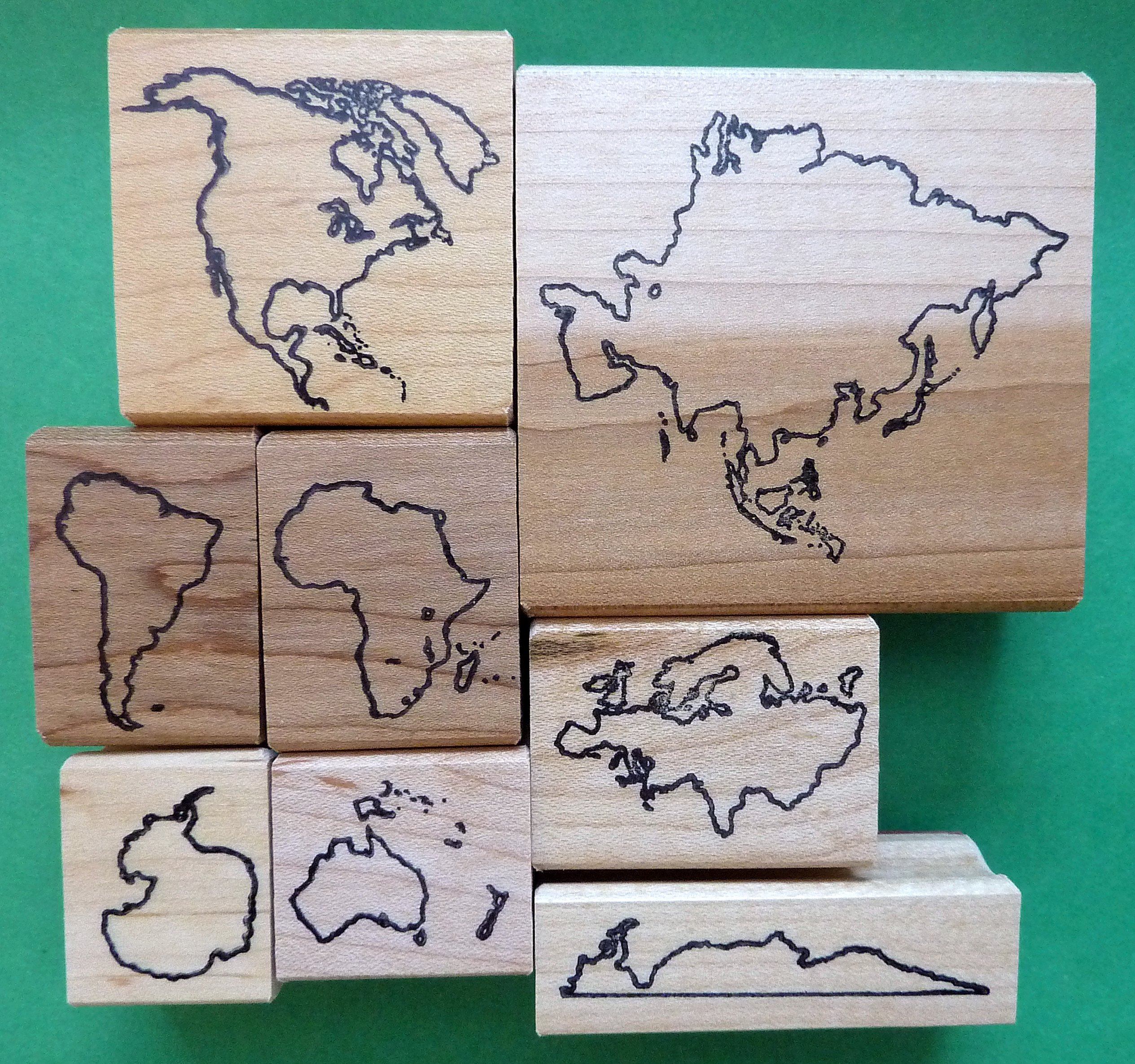 Deluxe Continents Teacher's Rubber Stamp Set, w/o Names by StampCrafte