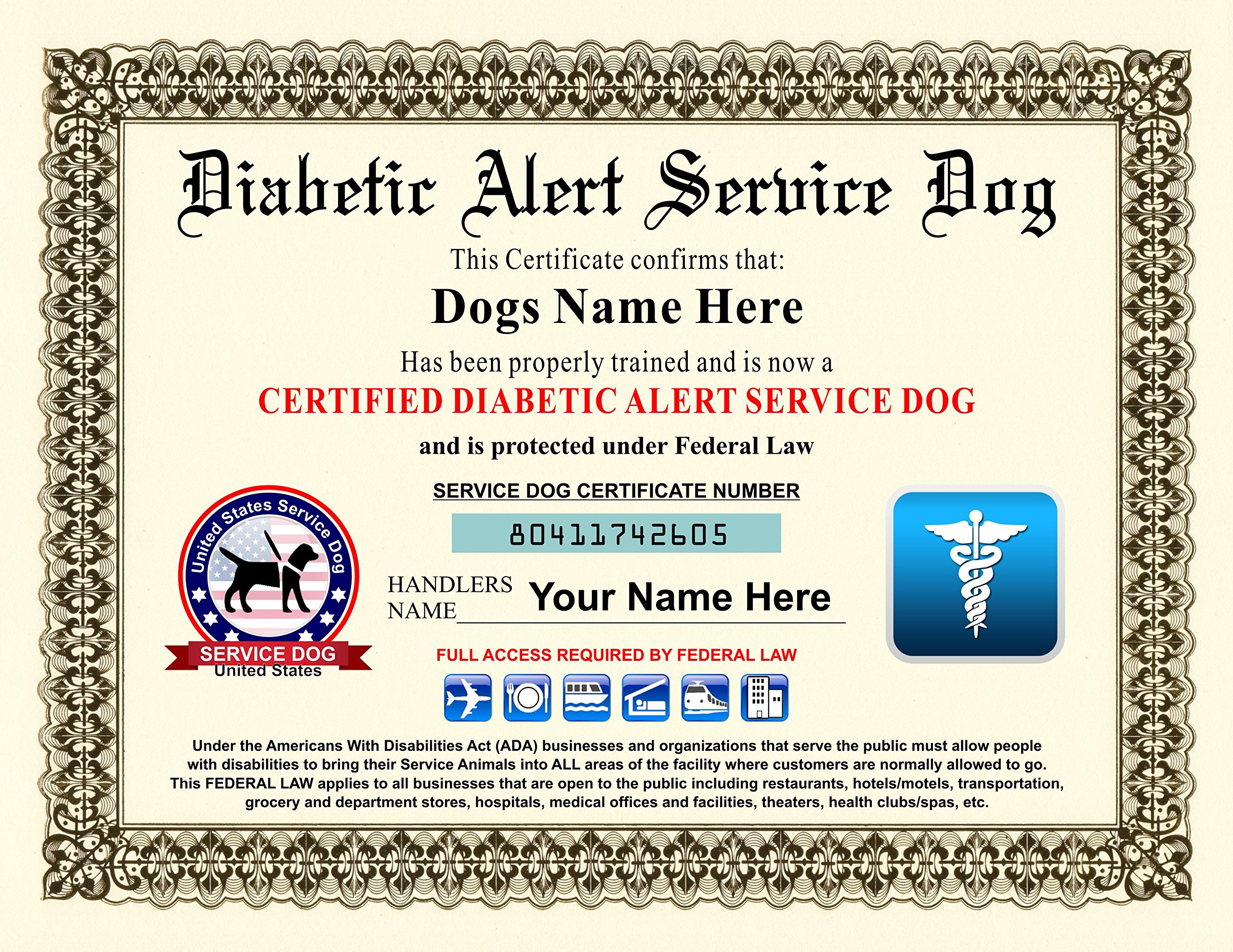 Diabetic Alert Service Dog Certificate - Customizable with Dogs / Handlers Name