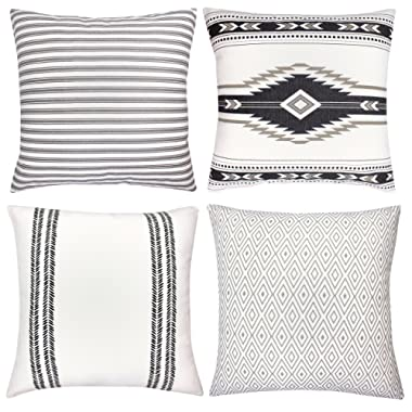 Woven Nook Decorative Throw Pillow Covers ONLY for Couch, Sofa, or Bed Set of 4 18 x 18 inch Modern Quality Design 100% Cotton Stripes Geometric Sahara