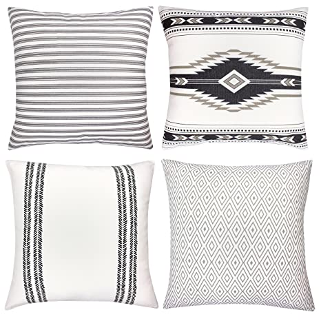 Woven Nook Decorative Throw Pillow Covers ONLY for Couch, Sofa, or Bed Set  of 4 18 x 18 inch Modern Quality Design 100% Cotton Stripes Geometric ...
