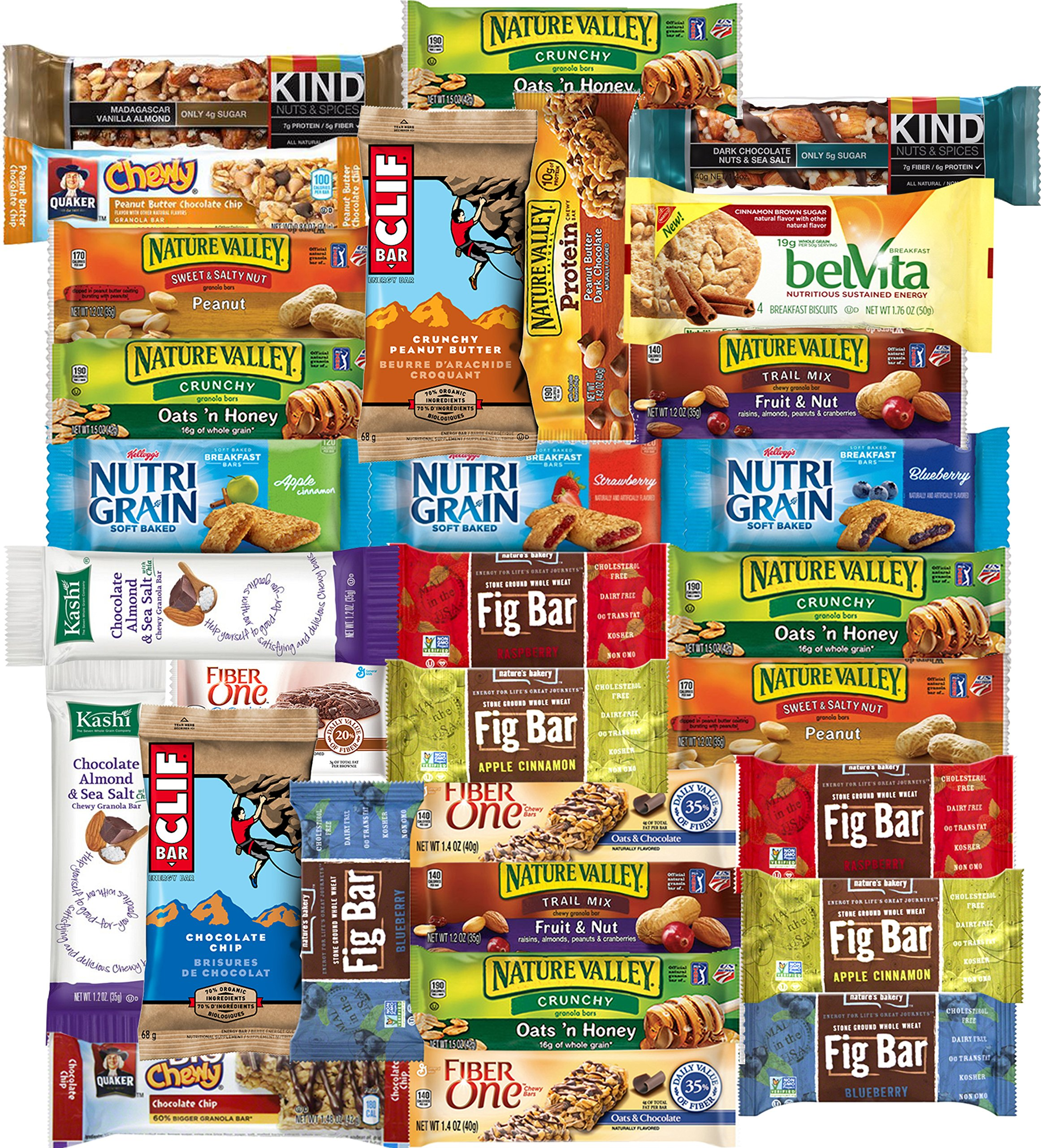 Healthy Bars Care Package Office Assortment Includes Kind Bar, Kashi, Fig Bars, Nature Valley & More (30 Count)