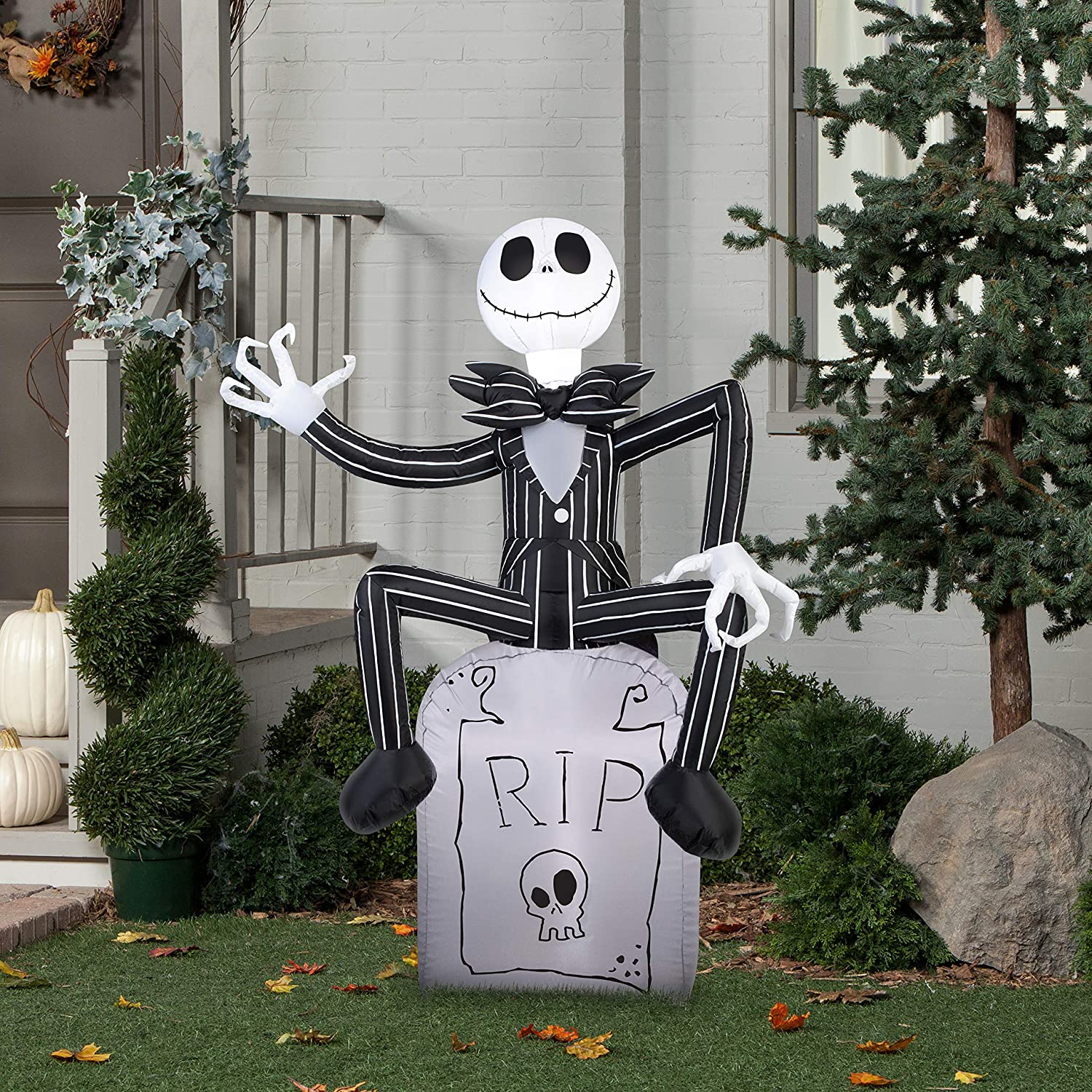 Gemmy Halloween Inflatable 5 Jack Skellington on Grave Stone Nightmare Before Christmas Prop Decoration