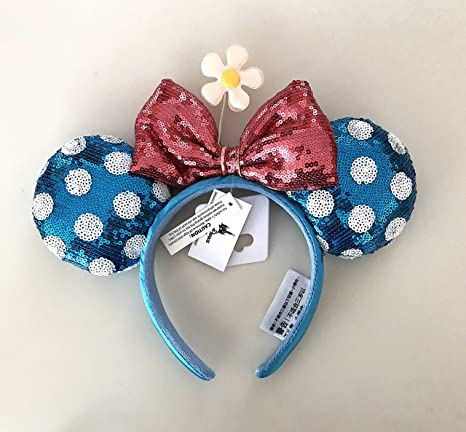 40dc257b1df Image Unavailable. Image not available for. Color  Disney Parks Minnie  Mouse Bow Flower Polka Dot Sequin Ears Headband