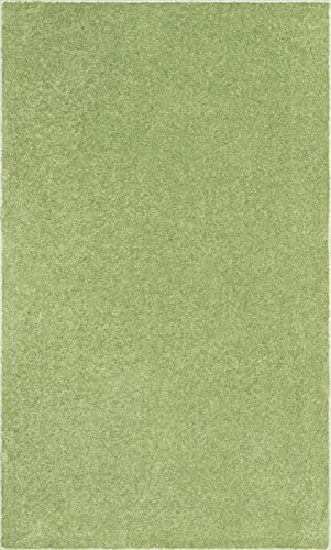 Home Queen Pet Friendly Solid Color Area Rugs Lime Green, 12 x 18