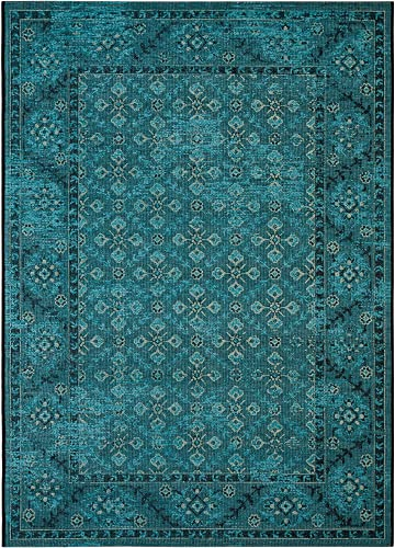 Safavieh Palazzo Collection PAL130-1621 Turquoise and Cream Area Rug 8 x 11