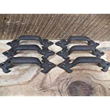 "Lot/Set of 6 Rustic New 4.5"" Cast Iron Small DRAWER PULL Handle Cupboard Cabinet"