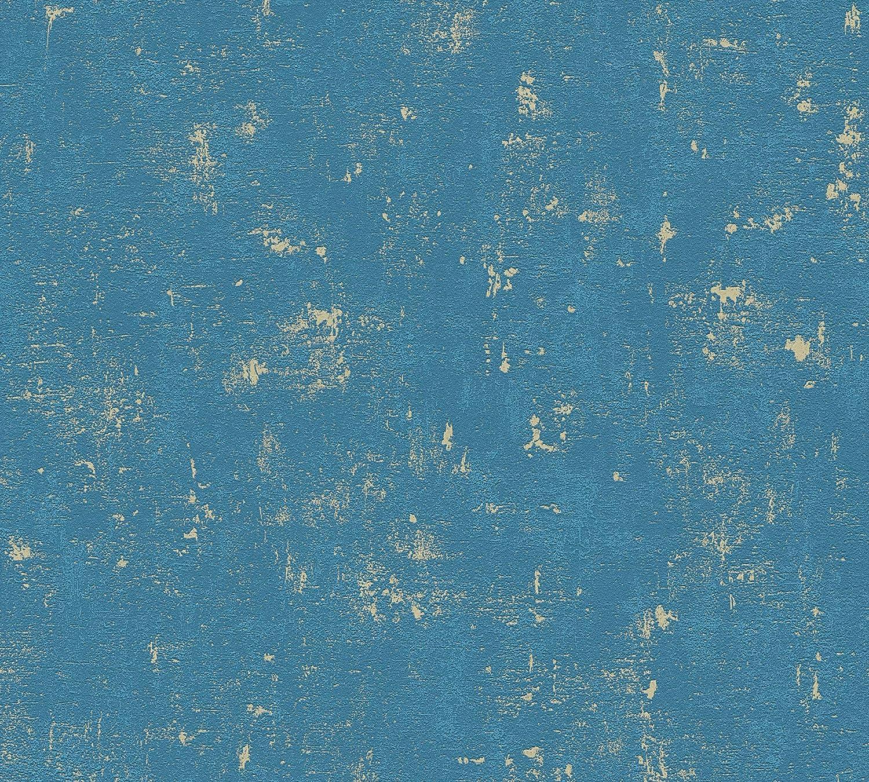 Papel pintado Cr/éation 230768 2307-68 dise/ño vintage 10,05 m x 0,53 m A.S color azul y dorado