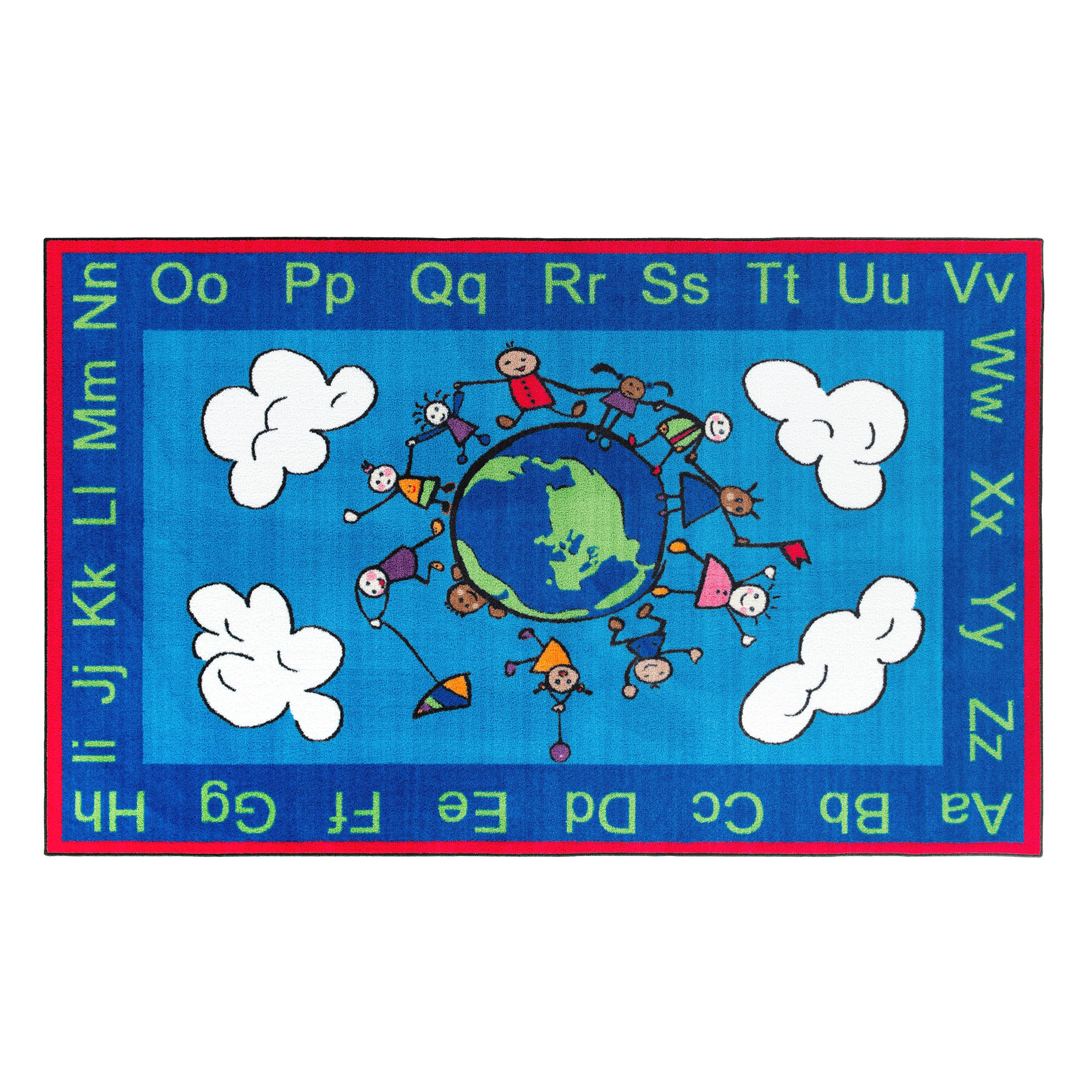Flagship Carpets CE189-28W Happy World Rug, Promotes Acceptance with Cheerful Friends of Diverse Backgrounds, 5' x 8', 60'' Length, 96'' Width, Blue/Multi-Color by Flagship Carpets