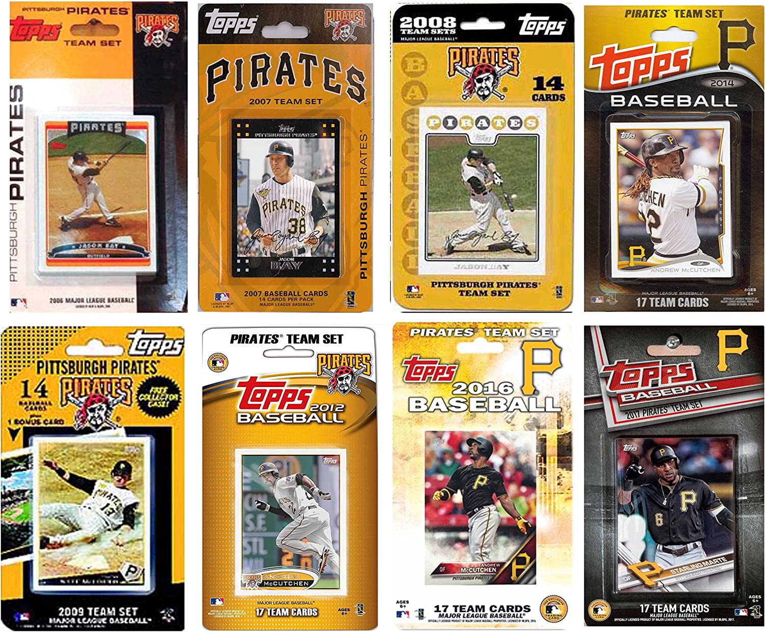 White C/&I Collectables MLB Pittsburgh Pirates Mens 8 Different Licensed Trading Card Team Sets