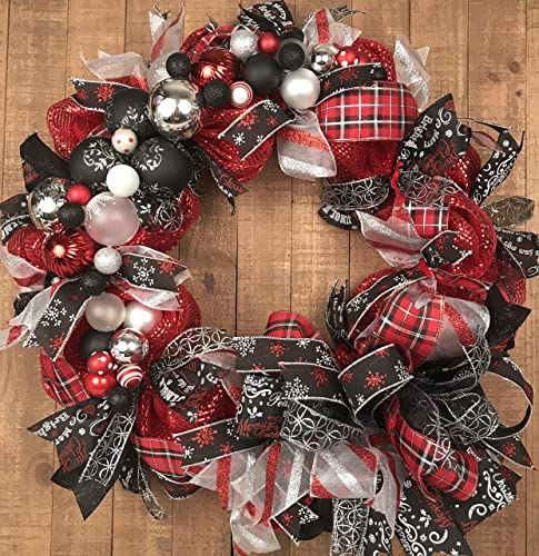 red black deco mesh christmas wreath - Deco Mesh Christmas Wreath