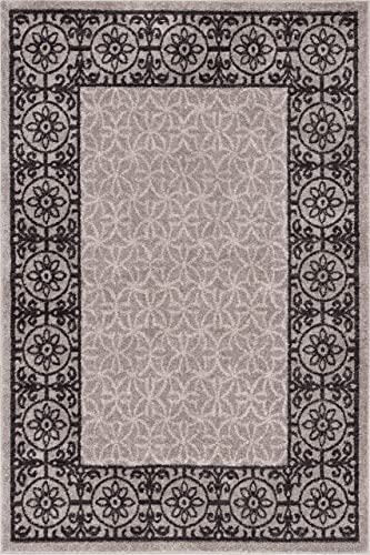 Well Woven Casa Tuscany Grey Ivory Modern Classic Mediterranean Tile Border Floral 5' x 7' Area Rug Soft Shed Free Easy to Clean Stain Resistant