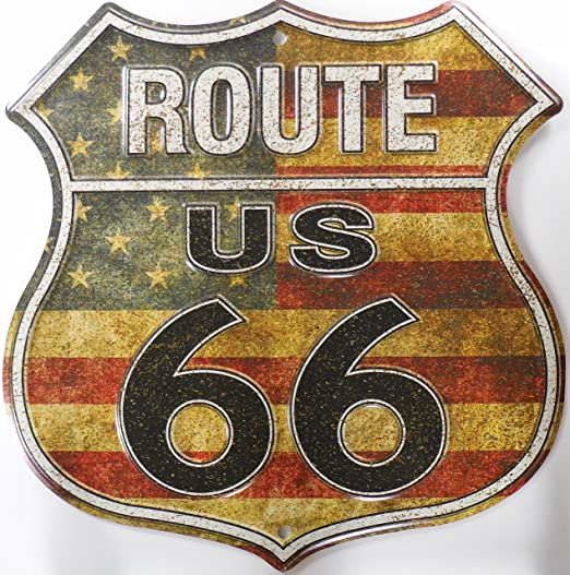 Route 66 American Flag Shield Cartel de Chapa Placa metal plano Nuevo 30x30cm VS4505-1