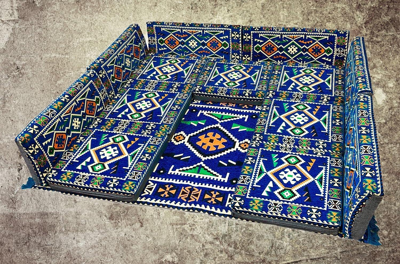 Nesbelle 13 Teilige Set Sark Kösesi Orientalische Sitzecke, Sitzkissen Set Blau Ohne Teppich (13-tlg Set)