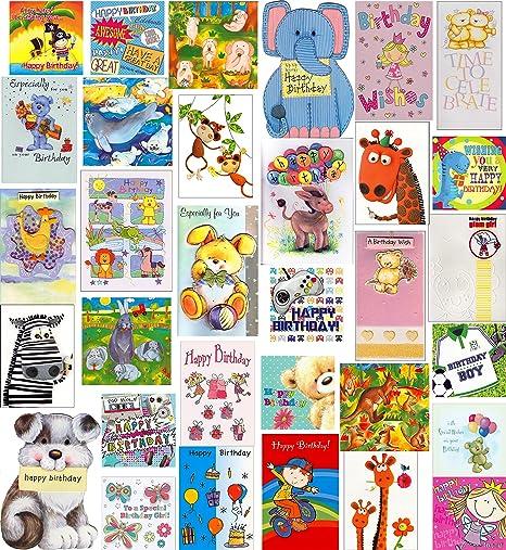 Confezione Da 30 Biglietti Di Auguri Di Compleanno Per Bambini