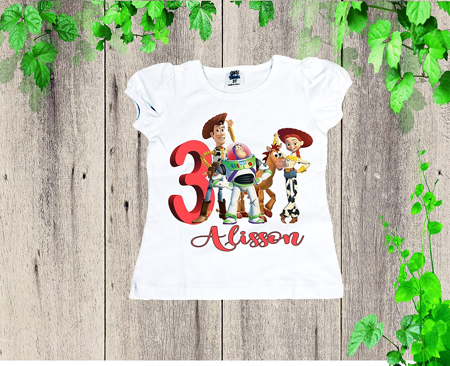 TOY STORY WOODY JESSIE AND BUZZ PERSONALISED CHILDS T-SHIRT
