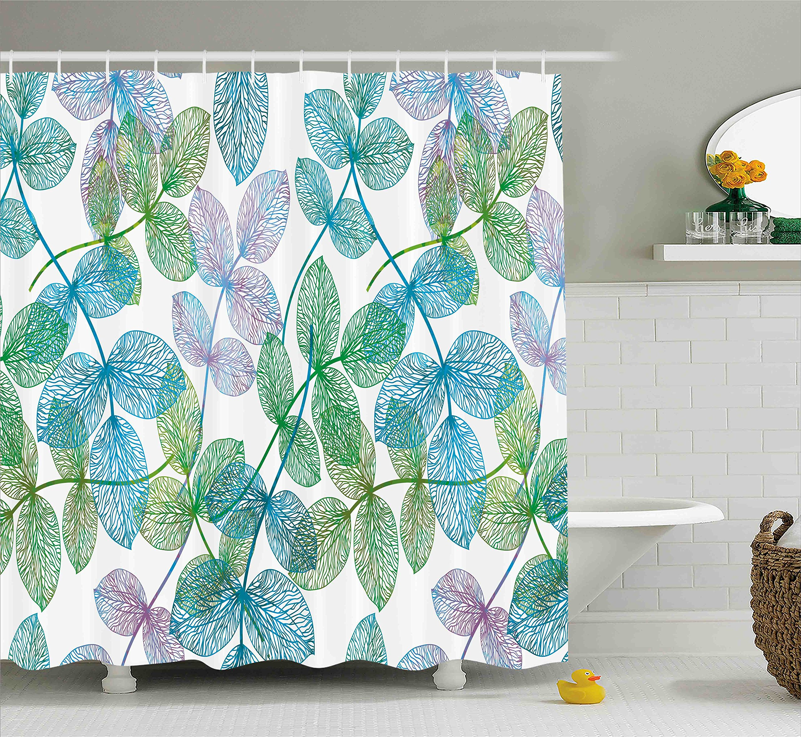 Ambesonne Floral Shower Curtain, Flowers Leaves Ivy Vein Like Rainbow Ombre Colored Art Print, Fabric Bathroom Decor Set with Hooks, 84 Inches Extra Long, Blue Green