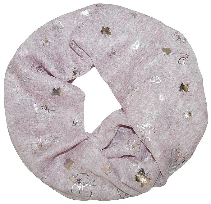 Damen Loopschal Schmetterling Schrift beige Schlauchschal Loop Schal