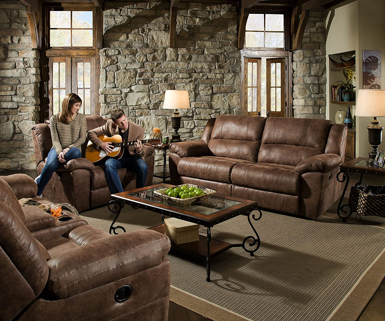 Simmons Living Room Set. Amazon com  Simmons Upholstery Phoenix 2 pc Living Room Set with Double Motion Sofa and Cuddler Recliner Mocha Kitchen Dining