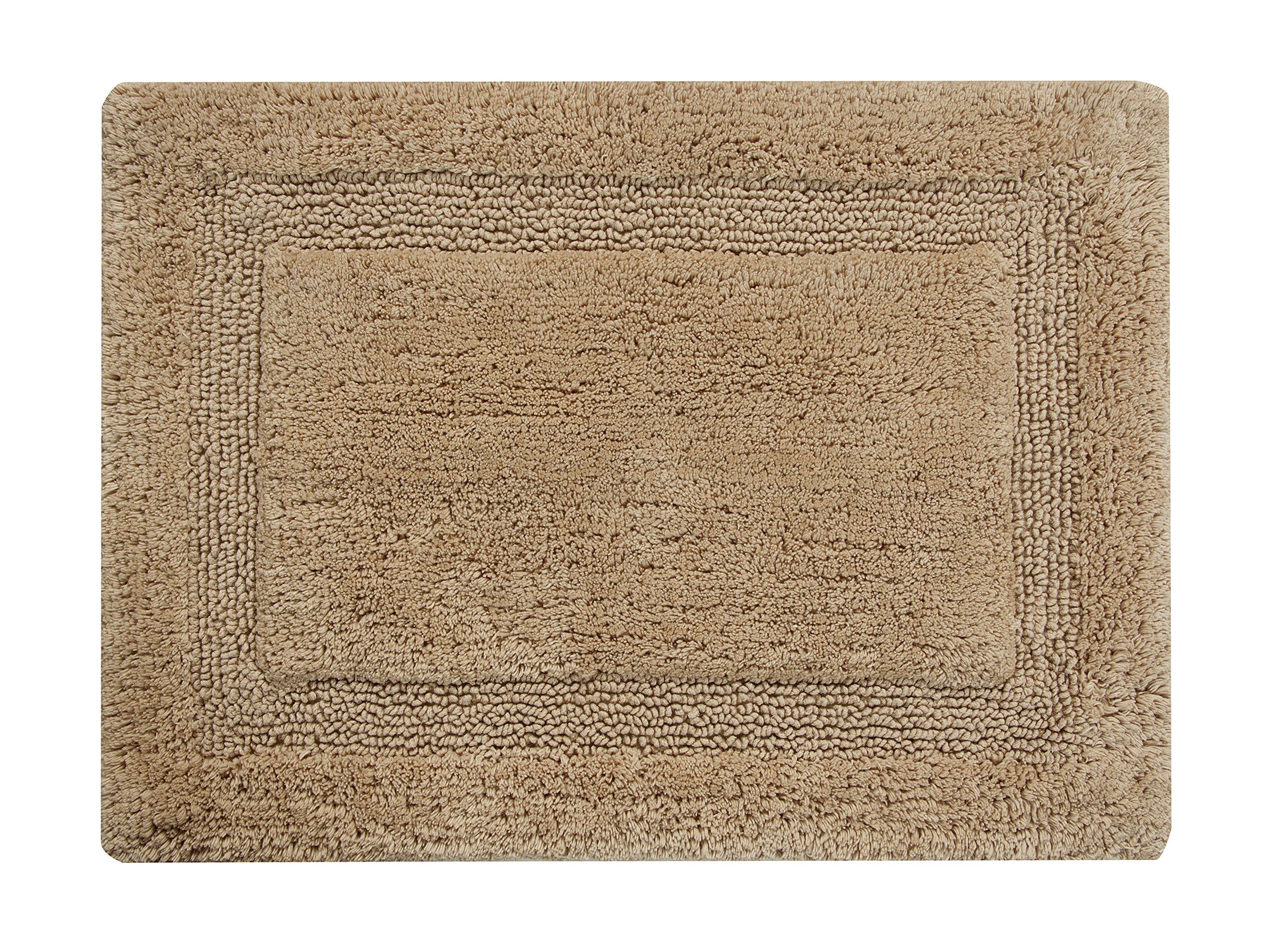 Saffron Fabs Bath Rug 100% Soft Cotton, Size 50x30 Inch, Latex Spray Non-Skid Backing, Solid Beige Color, Textured Border, Hand Tufted, Heavy 190 GSF Weight, Machine Washable