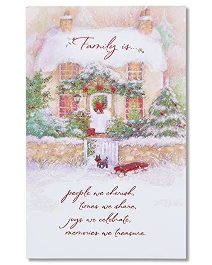 Christmas Card Greetings.American Greetings Family Is Christmas Card With Glitter
