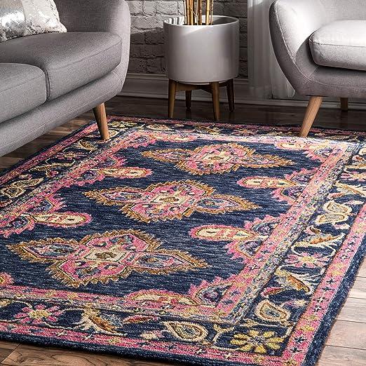 Amazon Com Nuloom Artie Bohemian Wool Area Rug 5 X 8 Navy Furniture Decor