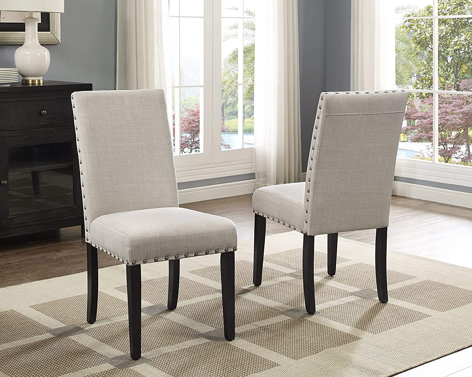 Tan Roundhill Biony bluee Fabric Dining Chairs with Nailhead Trim, Set of 2