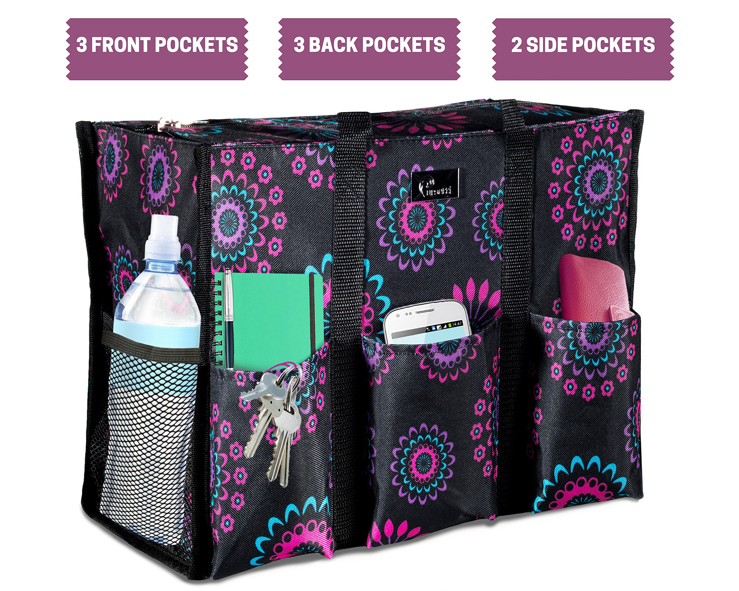 Pursetti Zip-Top Organizing Utility Tote Bag (Purple Circle_L) with Multiple Exterior & Interior Pockets for Working Women, Nurses, Teachers and Soccer Moms by Pursetti (Image #3)
