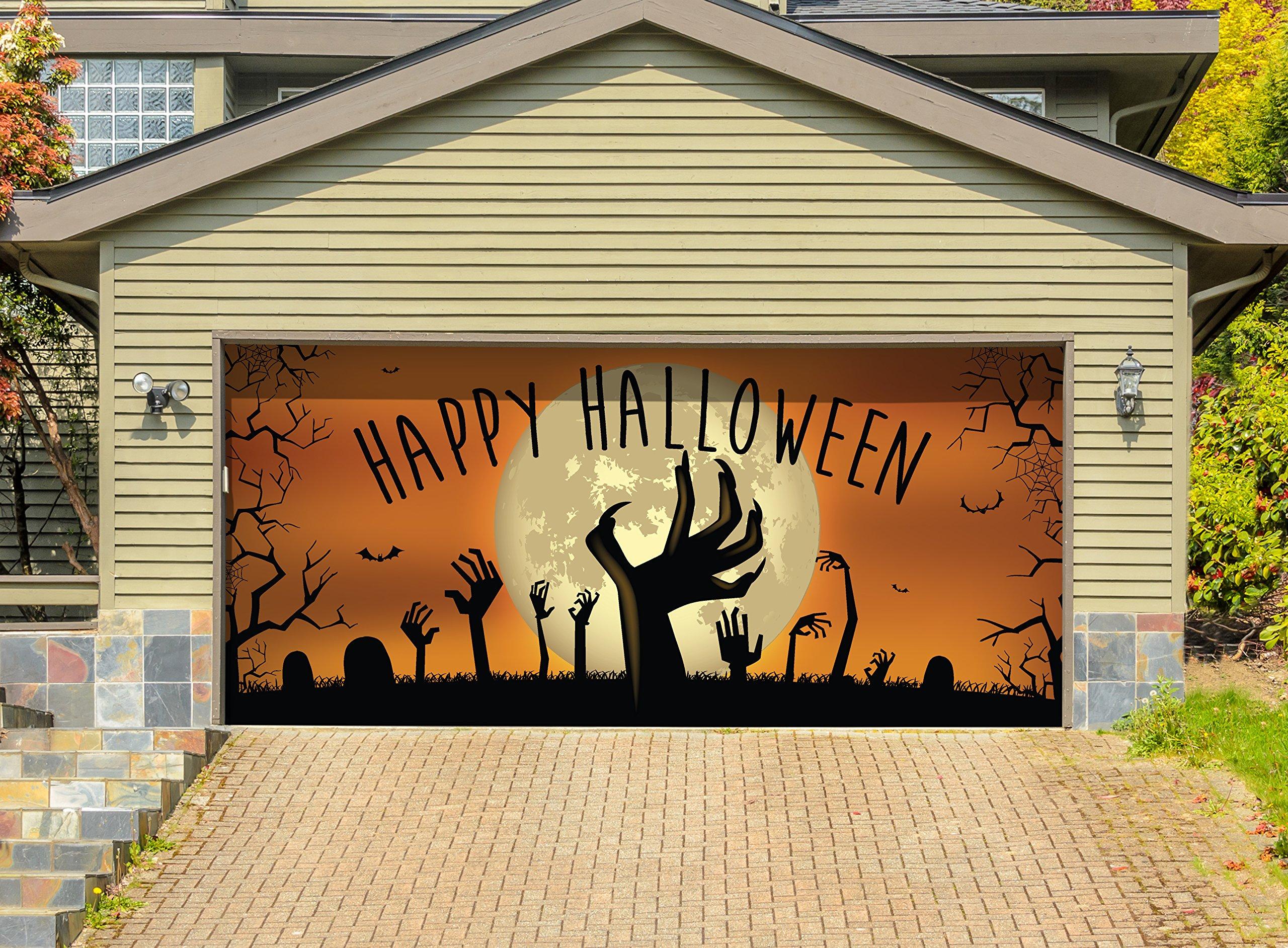 Outdoor Halloween Holiday Garage Door Banner Cover Mural Décoration - Happy Halloween Graveyard Zombie Hands - Outdoor Halloween Holiday Garage Door Banner Décor Sign 7'x 16'