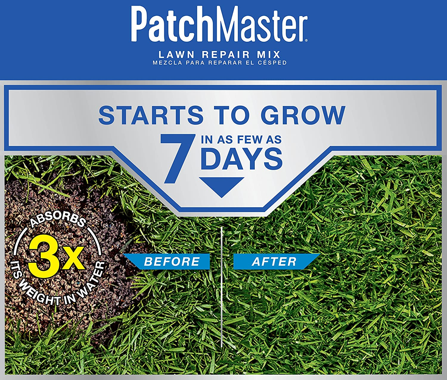 Scotts PatchMaster Lawn Repair Mix Sun and Shade Mix - 10 lb, All-in-One Bare Spot Repair, Feeds for Up to 6 Weeks, Fast Growth and Thick Results, Covers Up to 290 sq. ft.: Garden & Outdoor