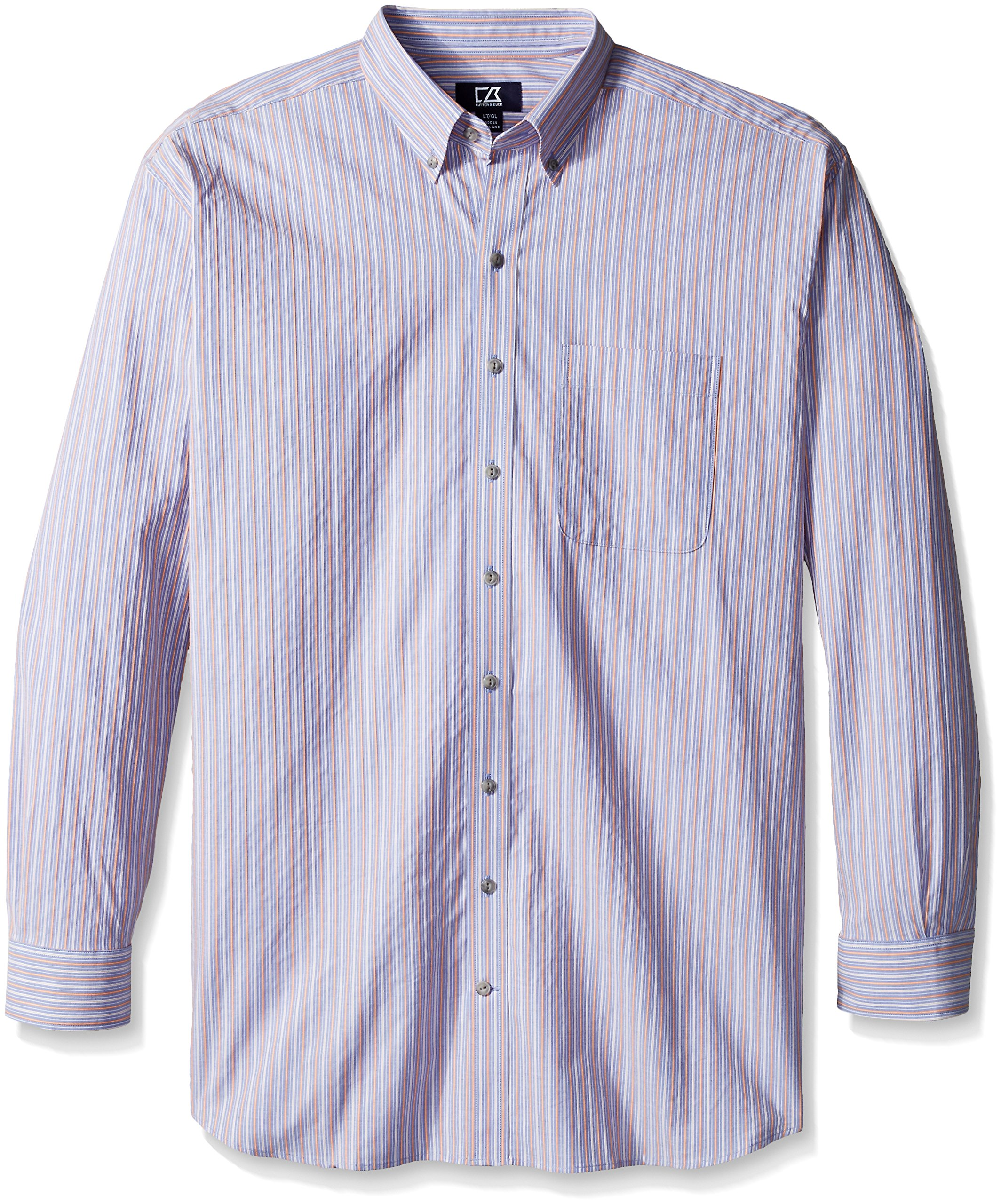 Cutter & Buck Men's Big and Tall Long Sleeve Sundown Stripe Shirt, Multi, 2X/Big