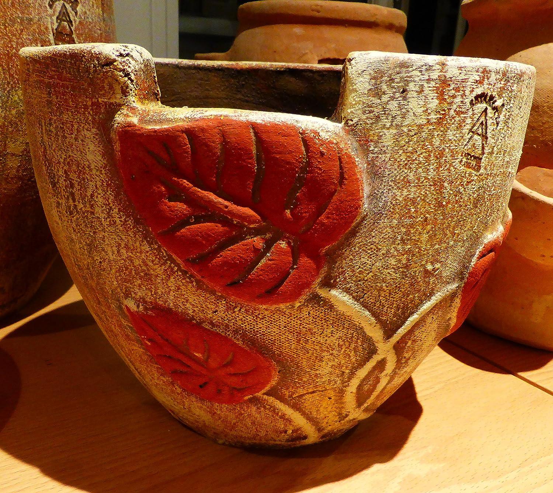 Traditionelle Handgemachte Kretische bemalt Plantar Terracotta Topf mit Blättern–glastra Me Filo 28cm x 36cm