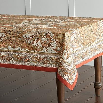 Maison Du0027 Hermine Kashmir Paisley 100% Cotton Tablecloth 60   Inch By 120