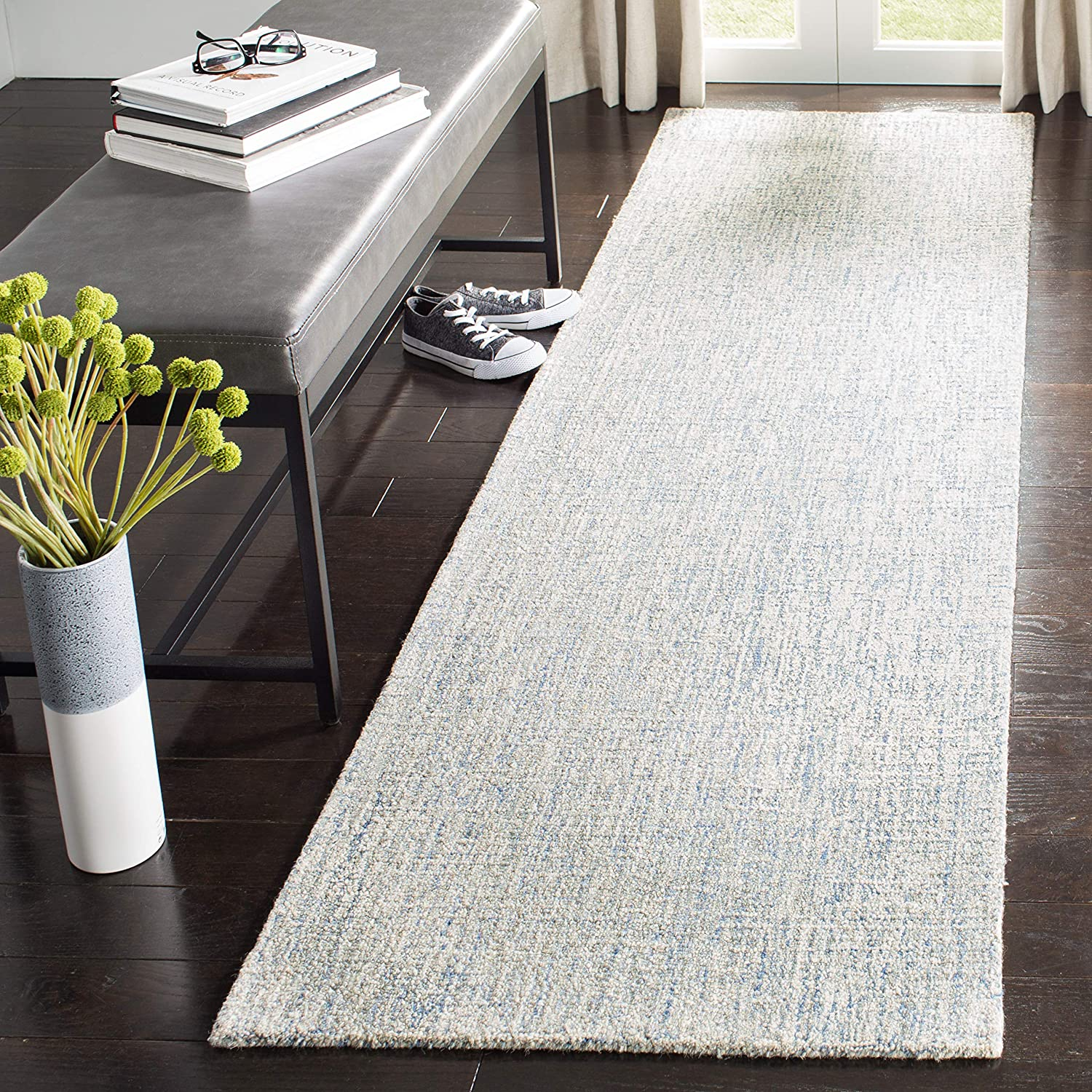 Safavieh Abstract Collection Abt471m Handmade Premium Wool Runner 2 3 X 8 Ivory Blue Furniture Decor