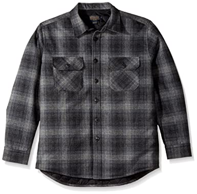 6e077caea7200f Pendleton Men's Quilted CPO Wool Shirt, Charcoal Grey Plaid-31962, ...