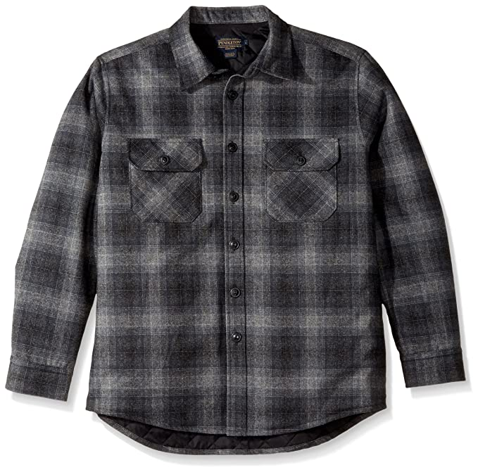 5044d8cb584e75 Pendleton Men's Quilted Cpo Wool Shirt, Charcoal Grey Plaid-31962, ...