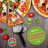 Delightly Pizza Cutter Slicer Wheel and Spatula Server Stainless Steel Razor Sharp Pizza Cutter