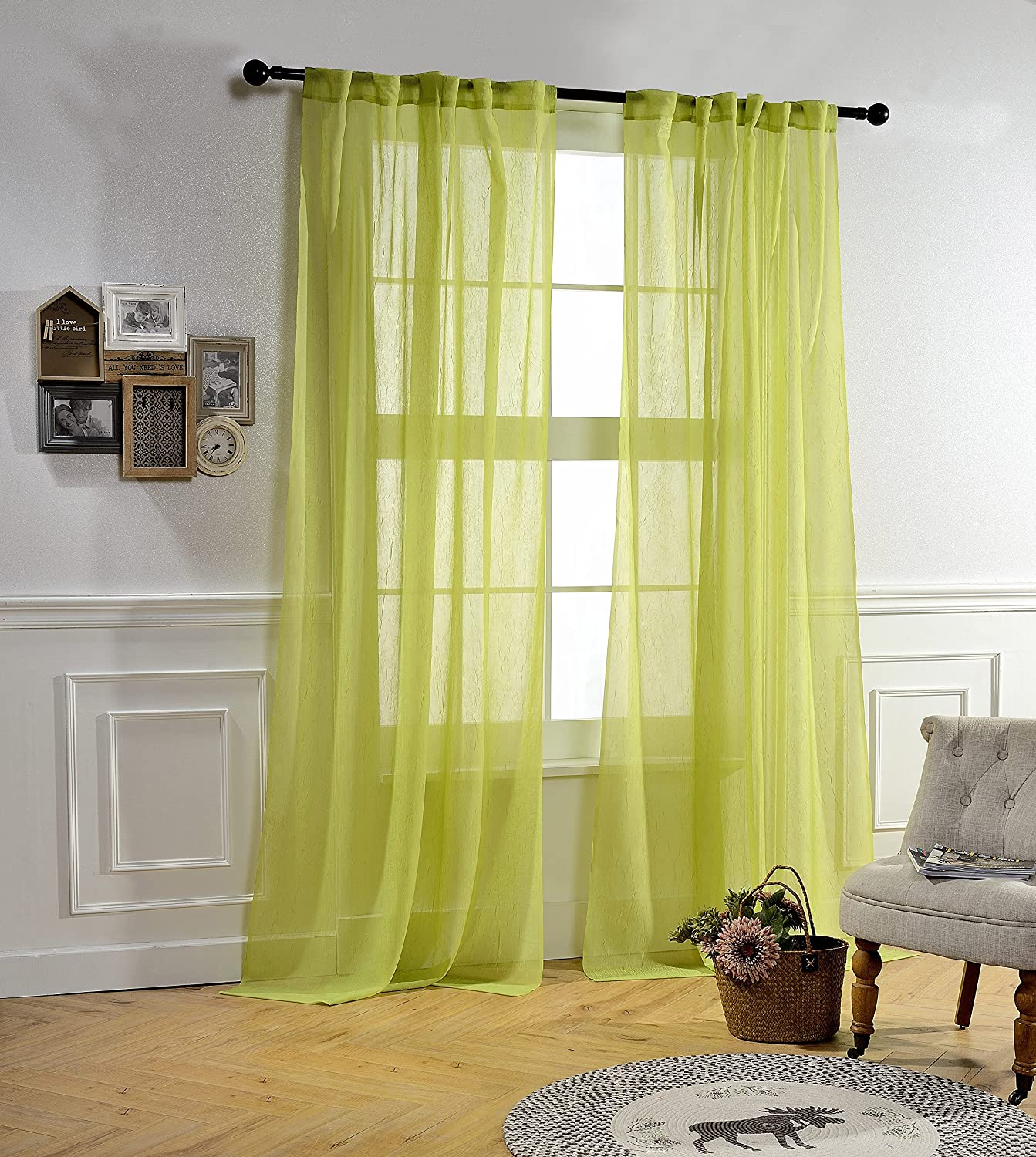 MYSKY HOME Back Tab and Rod Pocket Window Crushed Voile Sheer Curtains, Light Green