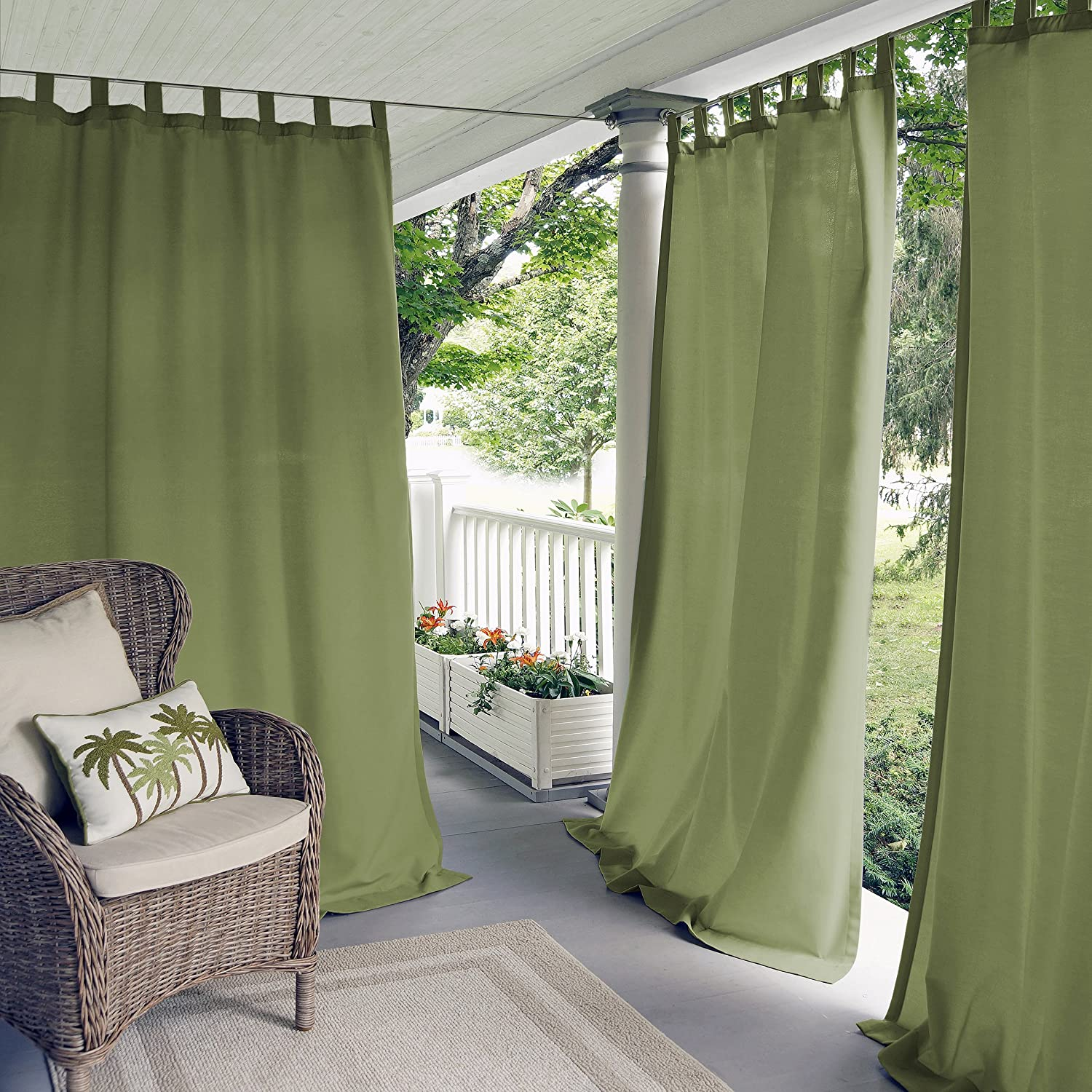 Elrene Home Fashions Indoor/Outdoor Solid UV Protectant Tab Top Single Window Curtain Panel Drape for Patio, Pergola, Porch, Deck, Lanai, and Cabana Matine Green 52
